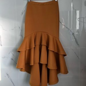 Mustard fit and flare skirt